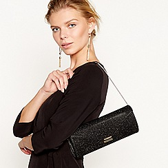 J by Jasper Conran - Black glitter envelope clutch bag