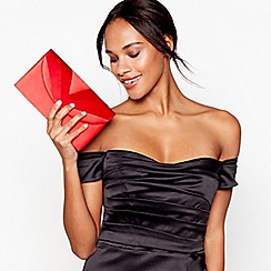 Debut - Red clean pleat satin clutch bag