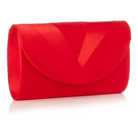 bag Red satin Debut pleat clean clutch ZvPnwqnAT