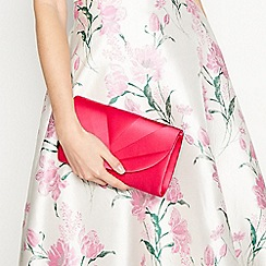 Debut - Bright pink satin pleat clutch bag