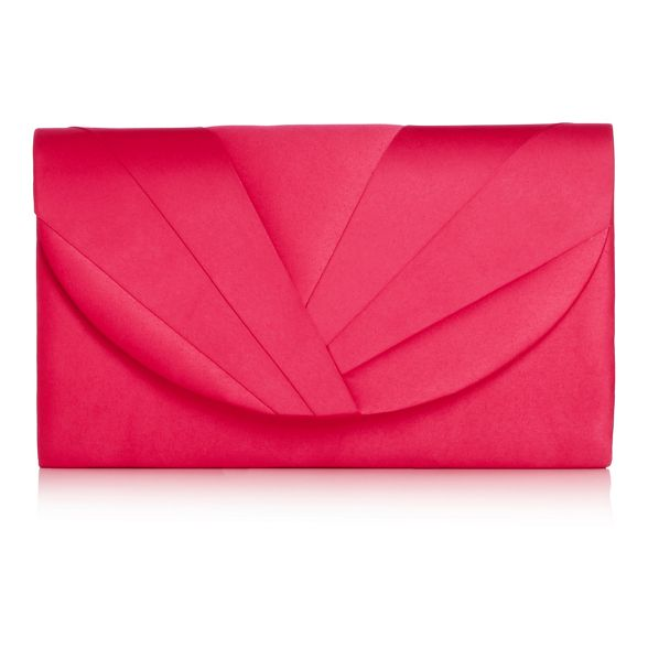 pink pleat satin clutch Debut bag Bright z5qpwAv