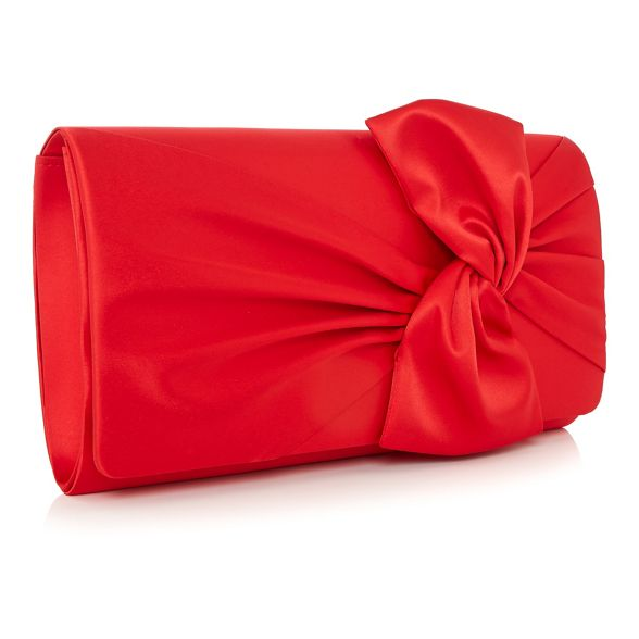 bag knot satin Red clutch Debut zFxCTInqE