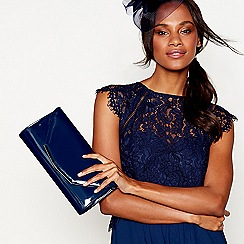 Debut - Navy patent clutch bag