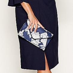 Debut - Navy floral print envelope clutch bag