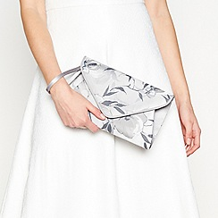 Debut - Grey floral print envelope clutch bag