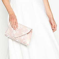 Debut - Pink floral embroidered envelope clutch bag