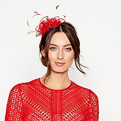 Debut - Red floral feather organza fascinator headband