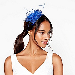 Debut - Blue floral feather organza fascinator headband