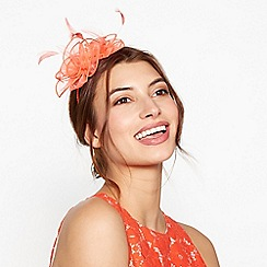 Debut - Coral floral feather organza fascinator headband