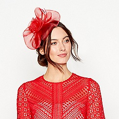 Debut - Red mesh bow flower feather fascinator headband