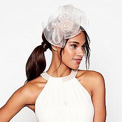 Debut - Peach mesh bow flower feather fascinator headband