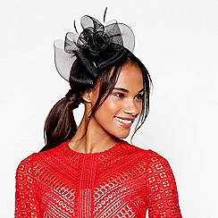 Debut - Black mesh bow flower feather fascinator headband