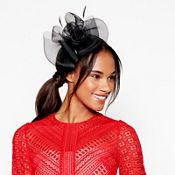 Debut - Black mesh bow flower feather fascinator headband c784faa9da6