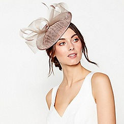Debut - Taupe mini saucer fascinator