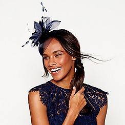 Debut - Navy feather flower fascinator headband