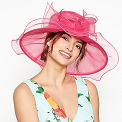 Debut - Bright pink bow feather oversized packable hat