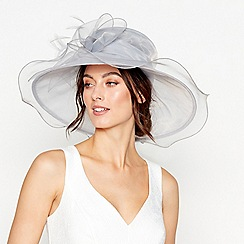 Debut - Pale grey bow feather oversized packable hat