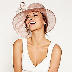 Debut - Pink two tone feather trim hat