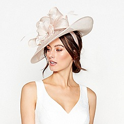Debut - Pink Diamante feather flower saucer headband fascinator