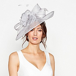 Debut - Grey diamante feather flower saucer headband fascinator