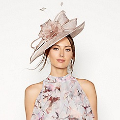 Debut - Taupe diamante floral feather saucer fascinator