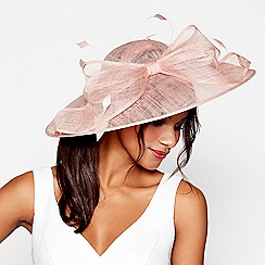 Debut - Light pink big bow quill saucer fascinator