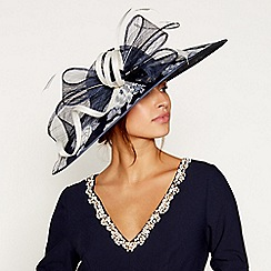 Debut - Navy printed overlay saucer fascinator