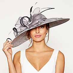 Debut - Grey printed overlay saucer fascinator