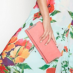 Debut - Pink suedette twin bar clutch bag