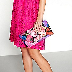 Debut - Multi-coloured floral print clutch bag