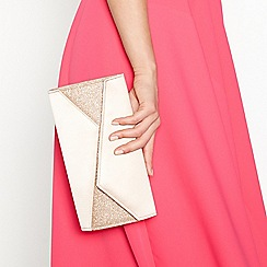 Debut - Gold glitter satin clutch bag