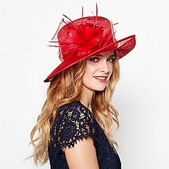 Debut - Red sinamay flower upbrim hat