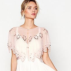 No 1 Jenny Packham Pink Bead Embellished Scalloped Shrug