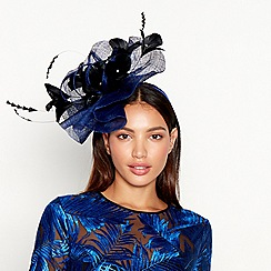 Star by Julien Macdonald - Blue diamante floral feather wave fascinator