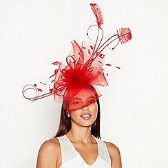 Star by Julien Macdonald - Red floral feather sinamay wave fascinator