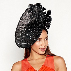Star by Julien Macdonald - Black diamante floral feather saucer fascinator