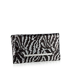 Star by Julien Macdonald - Black sequinned zebra clutch bag