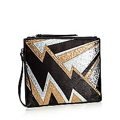 Star by Julien Macdonald - Black glitter lightening bolt clutch bag