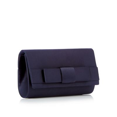 Debut   Navy Satin Bow Clutch Bag by Debut