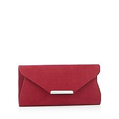 Debut - Dark red suedette envelope clutch bag