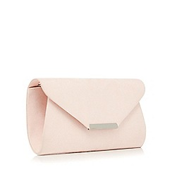 Debut - Pink suedette envelope clutch bag