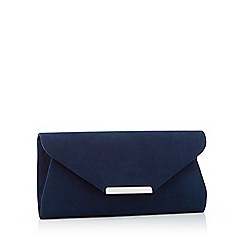 Debut - Navy suedette envelope clutch bag