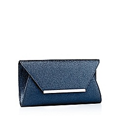 Debut - Navy sparkle metal trim envelope clutch bag