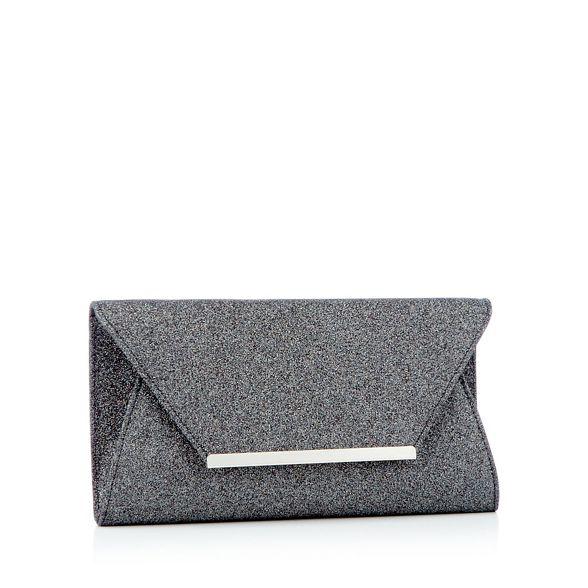 metal envelope clutch trim bag Debut Black sparkle E8w4ISq