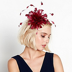 Debut - Dark red beaded feather headband