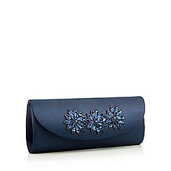 Debut - Navy floral embellished satin clutch bag