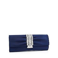 No. 1 Jenny Packham - Navy satin diamante strap clutch bag