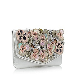 No. 1 Jenny Packham - Silver sequin flower embellished clutch bag