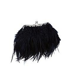 No. 1 Jenny Packham - Navy feather frame clutch bag