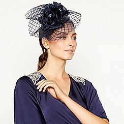 No. 1 Jenny Packham - Navy mini floral windowpane fascinator